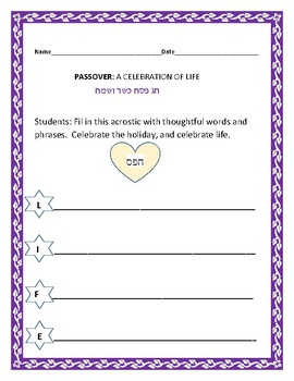 PASSOVER: A CELEBRATION OF LIFE: An acrostic activity