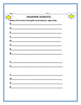 PASSOVER ACROSTIC