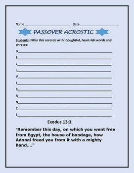 PASSOVER ACROSTIC ACTIVITY