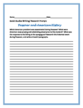 PASSOVER & AMERICAN HISTORY WRITING PROMPT