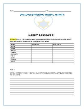 PASSOVER SYNONYM/ WRITING ACTIVITY: GRADES 3-6