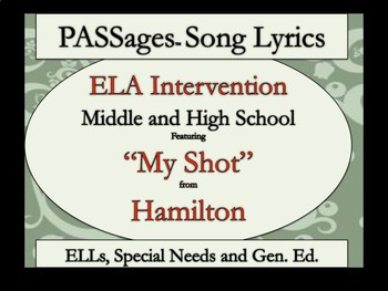 "ELA Intervention -  ESL High School and Special Education-Hamilton's ""My Shot"""