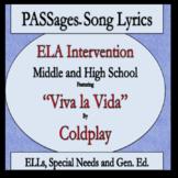 ELA Intervention ESL High School ESL Middle School PASSages Viva la Vida