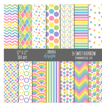 PASTEL RAINBOW digital paper, commercial use, paper pack, rainbow, colors