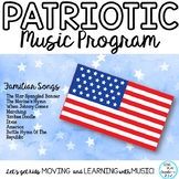 Patriotic Music Program with Familiar Songs and Music Matching Game K-6