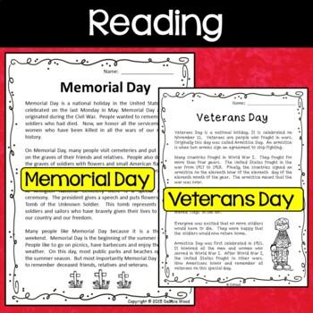 PATRIOTIC BUNDLE:  Veterans Day and Memorial Day