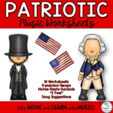 Patriotic Music Class Worksheets: Dynamics, Notes, Expression, Symbols, Editable