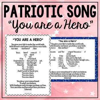 """Patriotic Song and Music """"You Are A Hero"""" Unison Video Sing-a-long & Mp3 Tracks"""