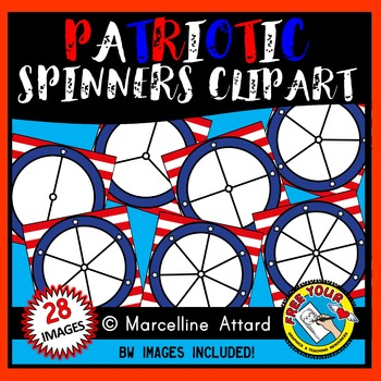 PRESIDENTS DAY CLIPART (PATRIOTIC SPINNERS CLIPART) STARS AND STRIPES CLIPART