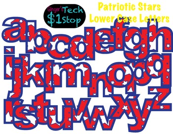PATRIOTIC STAR * Lower Case Letters * Bulletin Board * Red White Blue * Memorial