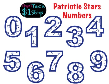 PATRIOTIC STAR * Numbers * Bulletin Board * Red White Blue
