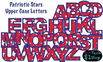 PATRIOTIC STAR * Upper Case Letters * Bulletin Board * Red White Blue * Memorial