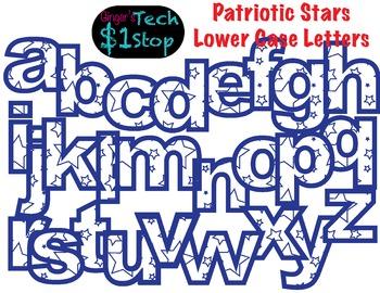 PATRIOTIC STARS * Lower Case Letters * Bulletin Board * Blue * Memorial Day
