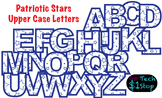 PATRIOTIC STARS * Upper Case Letters * Bulletin Board * Blue * Memorial Day