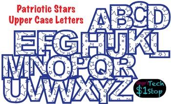 PATRIOTIC STARS * Upper Case Letters * Bulletin Board * Bl
