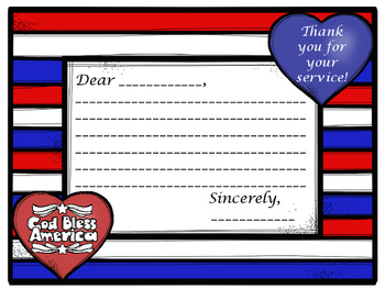 THANK A VETERAN!  PATRIOTIC THANK YOU LETTER TEMPLATE FOR
