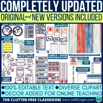 Patriotic Theme Classroom Decor Editable By Clutter Free Classroom