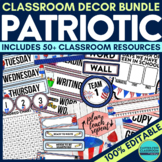 PATRIOTIC THEME Classroom Decor - EDITABLE Clutter-Free Cl