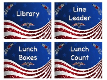 PATRIOTIC Theme Job Chart Cards/Signs - Great for Classroom Management!
