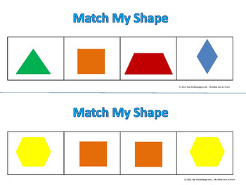 PATTERN BLOCK MATS  **MATCH MY SHAPE 1 ** math task cards