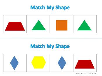 PATTERN BLOCK MATS  **MATCH MY SHAPE 2 ** math task cards