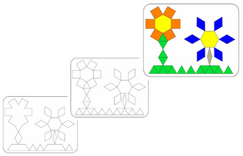 PATTERN BLOCKS - FLOWERS DESIGN CARDS