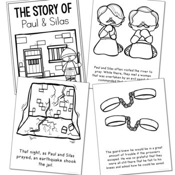 PAUL AND SILAS Bible Story Coloring Pages | Easy Craft