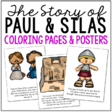 PAUL AND SILAS Bible Story Coloring Pages and Posters, Craft Activity