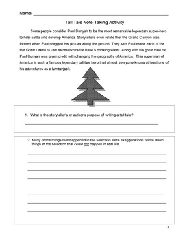 Tall Tale: PAUL BUNYAN Story w/ 6 Note-Taking Frames - Reading Strategy