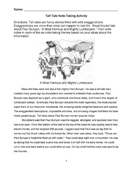 Tall Tale PAUL BUNYAN Story w