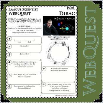 PAUL DIRAC Science WebQuest Scientist Research Project Biography Notes