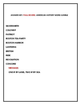 PAUL REVERE: AMERICAN HISTORY WORD JUMBLE