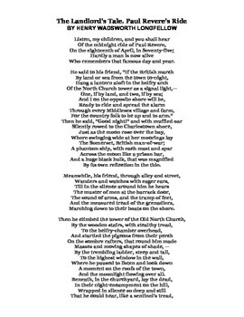 PAUL REVERE: WORD SEARCH, COLORING, TEXT, POEM (NOT GRADE SPECIFIC)