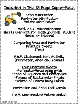 Perimeter, Area, and Volume: P.A.V. Construction Mega Pack