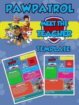 Paw Patrol Meet The Teacher Newsletter Template Editable Back To School
