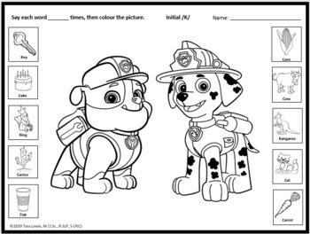PAW Patrol Speech Sound Worksheets