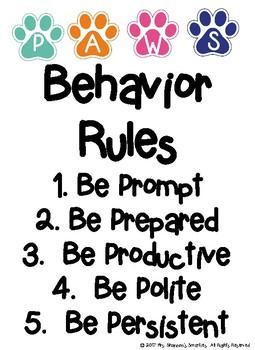 PAWS Behavior Bulletin Board