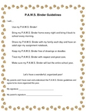 P.A.W.S. Binder and Guidelines