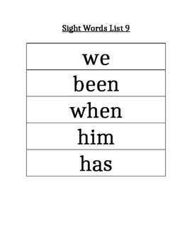 PAWS Sight Words (List 9)