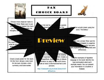PAX Choice Board Tic Tac Toe Novel Activities Assessment Book Project