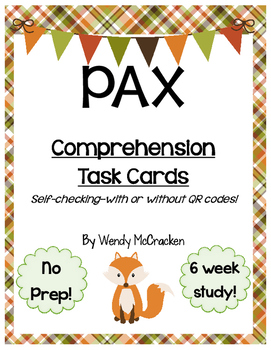 PAX by Sara Pennypacker - Comprehension Task Cards - with