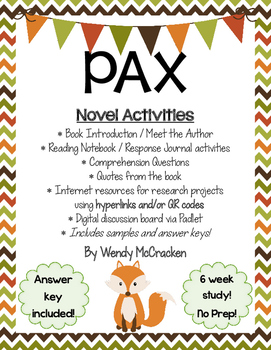 PAX by Sara Pennypacker - Novel Study and Activities