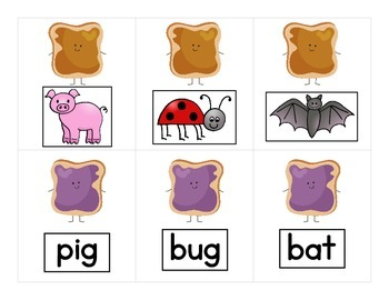 PB & J - CVC Word and CVC Picture Match