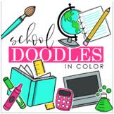 PB School Doodles Clipart in Color