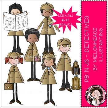 PB n Js clip art - Detectives - Mini - Melonheadz Clipart