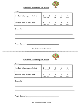 PBIS-Aligned Daily Progress Report FREEBIE