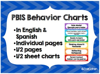 PBIS Behavior Chart (Chevron) in English and Spanish