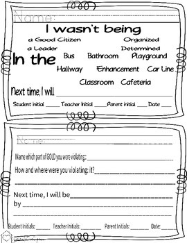 PBIS Behavior Reflection Form