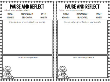 PBIS Behavior Reflection and Goal Setting Writing Sheets