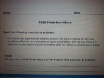 PBIS Behavior System Think-Pair-Share
